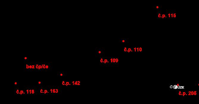 Prštné 109, Zlín na parcele st. 165 v KÚ Prštné, Katastrální mapa