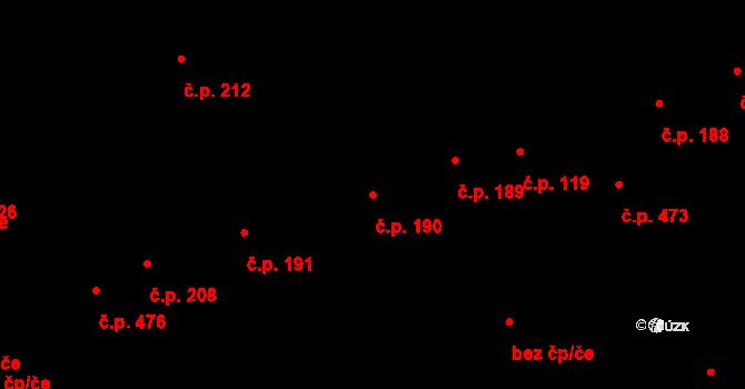 Buštěhrad 190 na parcele st. 822 v KÚ Buštěhrad, Katastrální mapa