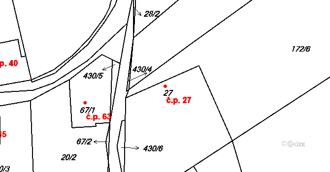 Sádek 27 na parcele st. 27 v KÚ Sádek, Katastrální mapa