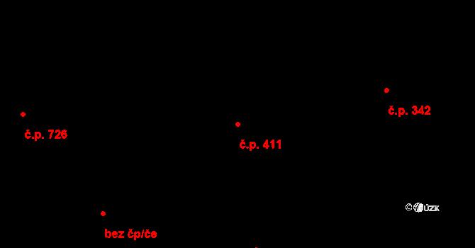 Komárov 411, Brno na parcele st. 990 v KÚ Komárov, Katastrální mapa
