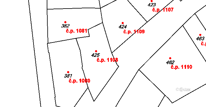 Nové Město 1108, Praha na parcele st. 425 v KÚ Nové Město, Katastrální mapa