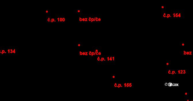 Horní Pěna 141 na parcele st. 294 v KÚ Horní Pěna, Katastrální mapa