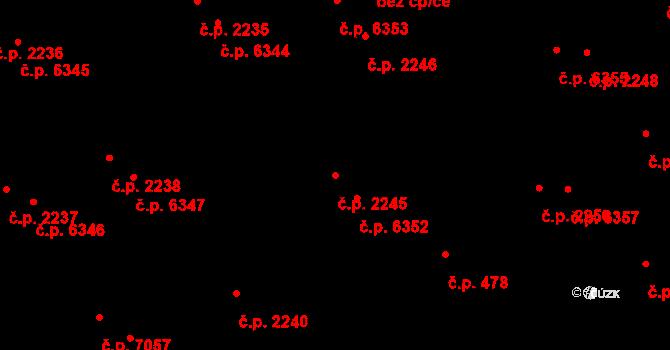 Zlín 2245 na parcele st. 3008/1 v KÚ Zlín, Katastrální mapa