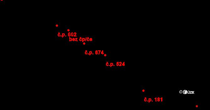 Lednice 524 na parcele st. 1443 v KÚ Lednice na Moravě, Katastrální mapa