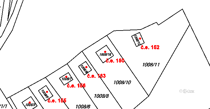 Loket 150 na parcele st. 1008/16 v KÚ Loket, Katastrální mapa