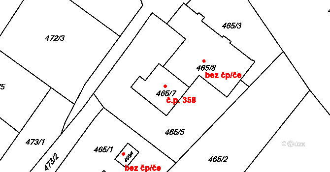 Pražské Předměstí 358, Bílina na parcele st. 465/7 v KÚ Bílina, Katastrální mapa