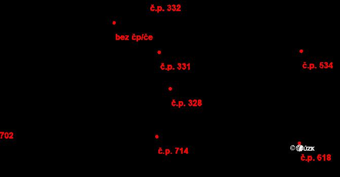 Prštné 328, Zlín na parcele st. 406 v KÚ Prštné, Katastrální mapa