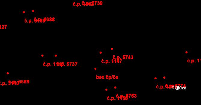 Zlín 1147 na parcele st. 1203/1 v KÚ Zlín, Katastrální mapa
