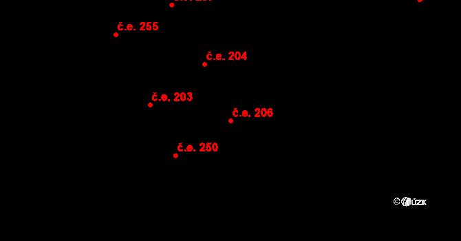 Žirovnice 206 na parcele st. 1136 v KÚ Žirovnice, Katastrální mapa