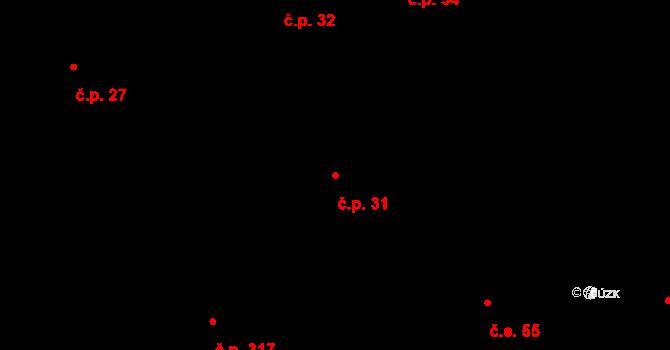 Březno 31 na parcele st. 163/1 v KÚ Březno u Chomutova, Katastrální mapa