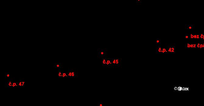 Lety 45 na parcele st. 1389 v KÚ Lety u Dobřichovic, Katastrální mapa