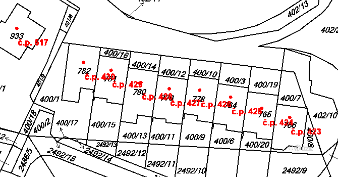 Mladcová 427, Zlín na parcele st. 779 v KÚ Mladcová, Katastrální mapa