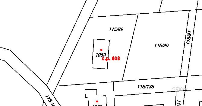 Mladcová 608, Zlín na parcele st. 1059 v KÚ Mladcová, Katastrální mapa