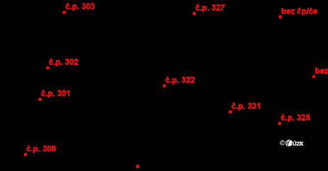 Litovel 322 na parcele st. 695 v KÚ Litovel, Katastrální mapa