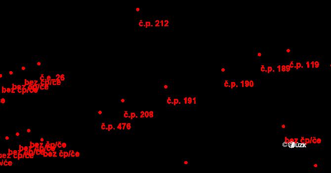 Buštěhrad 191 na parcele st. 823 v KÚ Buštěhrad, Katastrální mapa