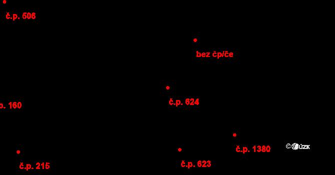 Vinohrady 624, Praha na parcele st. 195 v KÚ Vinohrady, Katastrální mapa