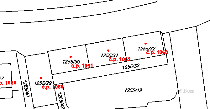 Krč 1062, Praha na parcele st. 1255/31 v KÚ Krč, Katastrální mapa