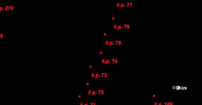 Hradec Králové 74 na parcele st. 101 v KÚ Hradec Králové, Katastrální mapa