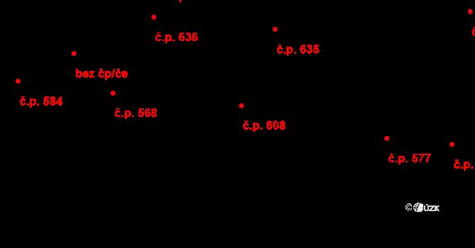 Lovosice 608 na parcele st. 2552 v KÚ Lovosice, Katastrální mapa