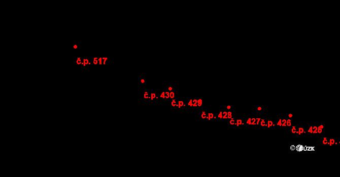 Mladcová 429, Zlín na parcele st. 781 v KÚ Mladcová, Katastrální mapa