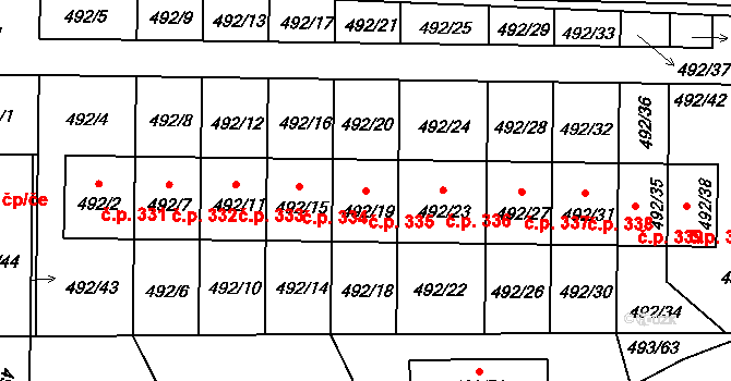 Staré Hodějovice 335 na parcele st. 492/19 v KÚ Staré Hodějovice, Katastrální mapa