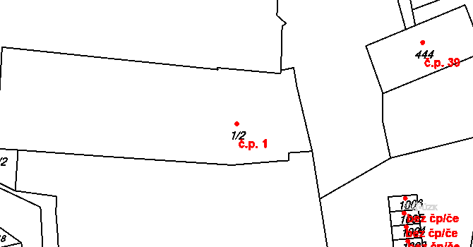 Broumov 1 na parcele st. 1/2 v KÚ Broumov, Katastrální mapa