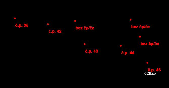 Časy 43 na parcele st. 49 v KÚ Časy, Katastrální mapa