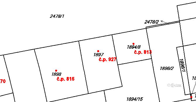 Vršovice 927, Praha na parcele st. 1897 v KÚ Vršovice, Katastrální mapa