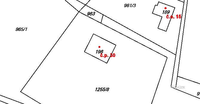 Kácova Lhota 30, Kozmice na parcele st. 196 v KÚ Kozmice u Benešova, Katastrální mapa