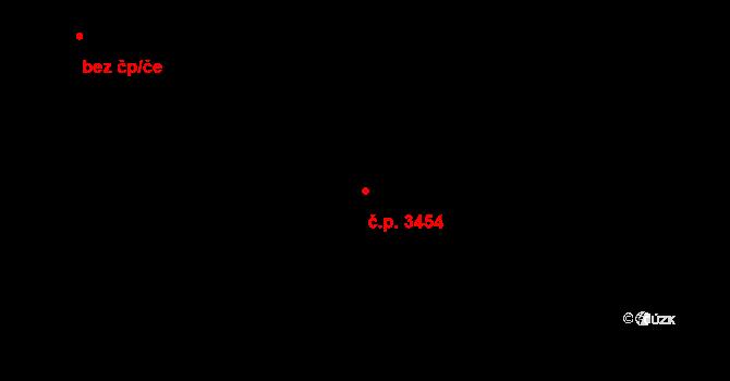 Kladno 3454 na parcele st. 2210 v KÚ Kladno, Katastrální mapa