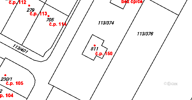 Čepirohy 150, Most na parcele st. 811 v KÚ Čepirohy, Katastrální mapa