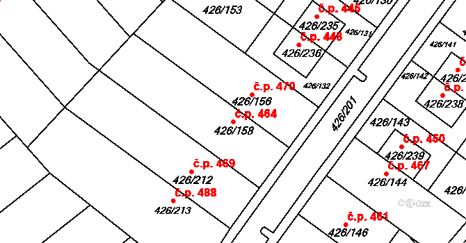 Lhota 464, Plzeň na parcele st. 426/158 v KÚ Lhota u Dobřan, Katastrální mapa