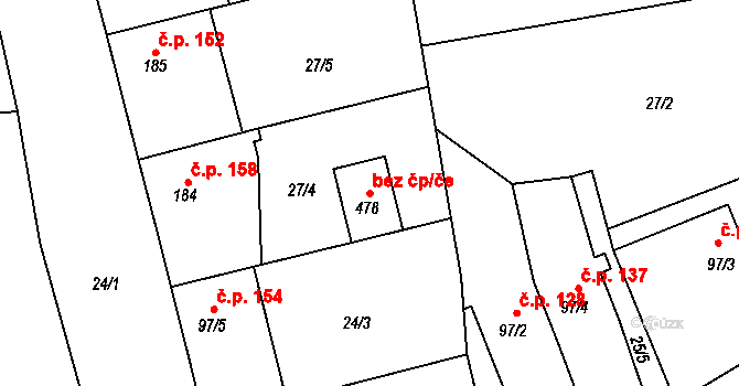Bratronice 44384955 na parcele st. 478 v KÚ Bratronice u Kladna, Katastrální mapa