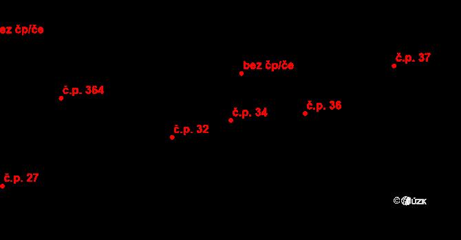 Březno 34 na parcele st. 145 v KÚ Březno u Chomutova, Katastrální mapa