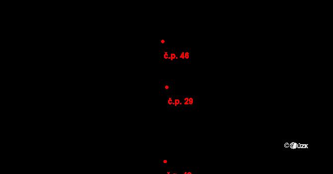 Radošovice 29 na parcele st. 29/1 v KÚ Radošovice u Českých Budějovic, Katastrální mapa
