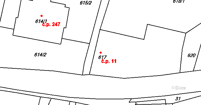 Lípa 11 na parcele st. 617 v KÚ Lípa nad Dřevnicí, Katastrální mapa