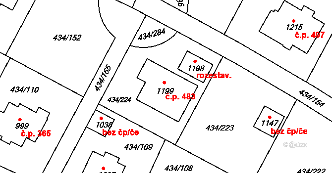 Doubí 483, Karlovy Vary na parcele st. 1199 v KÚ Doubí u Karlových Var, Katastrální mapa