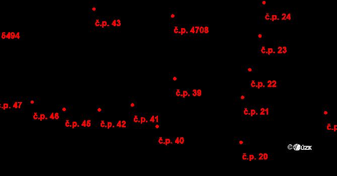 Jihlava 39 na parcele st. 71 v KÚ Jihlava, Katastrální mapa