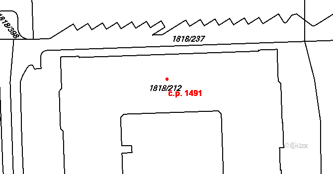 Hostivař 1491, Praha na parcele st. 1818/212 v KÚ Hostivař, Katastrální mapa