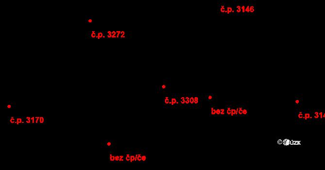 Teplice 3308 na parcele st. 4677/32 v KÚ Teplice, Katastrální mapa