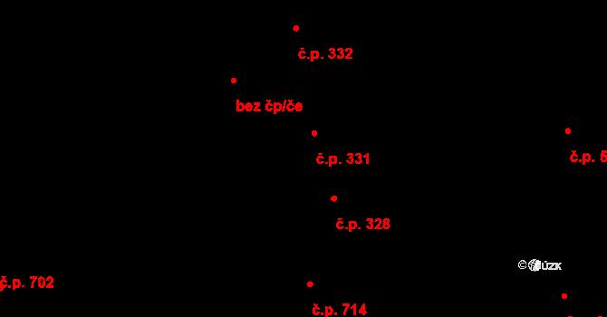 Prštné 331, Zlín na parcele st. 424 v KÚ Prštné, Katastrální mapa
