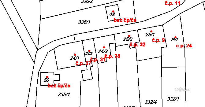 Lhota pod Kosířem 38, Drahanovice na parcele st. 24/3 v KÚ Lhota pod Kosířem, Katastrální mapa