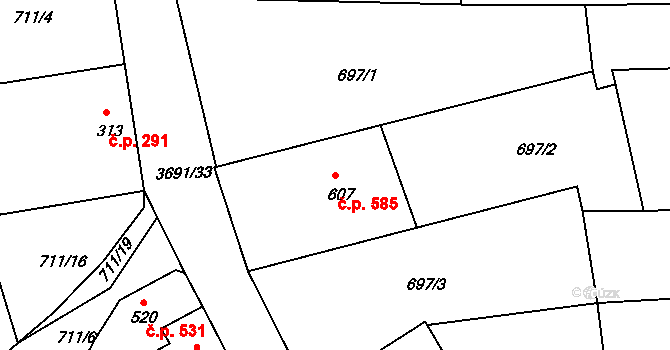 Žirovnice 585 na parcele st. 607 v KÚ Žirovnice, Katastrální mapa