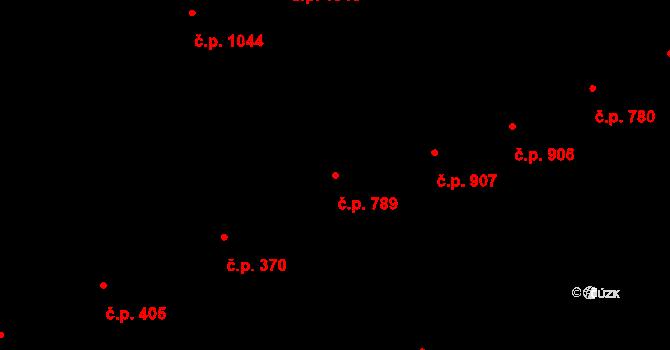 Smíchov 789, Praha na parcele st. 3484/1 v KÚ Smíchov, Katastrální mapa
