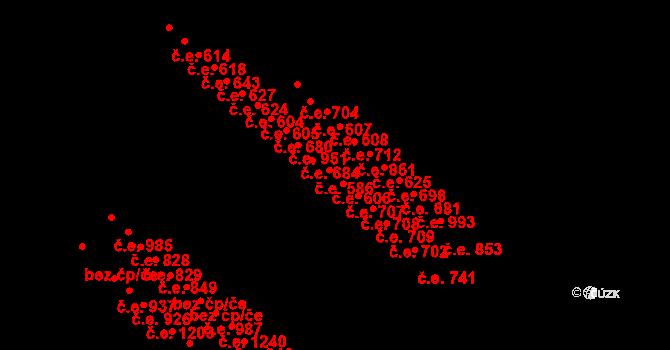 Aš 606 na parcele st. 3639 v KÚ Aš, Katastrální mapa