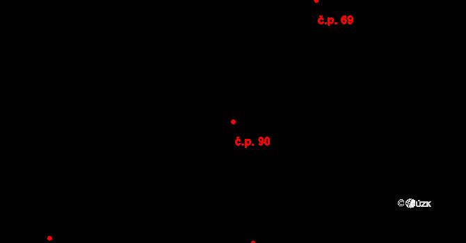 Řež 90, Husinec na parcele st. 827 v KÚ Husinec u Řeže, Katastrální mapa