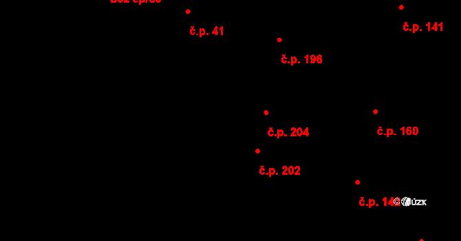 Brandýsek 204 na parcele st. 388 v KÚ Brandýsek, Katastrální mapa