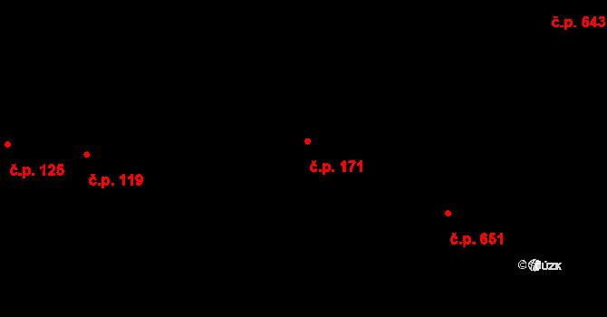 Troja 171, Praha na parcele st. 424 v KÚ Troja, Katastrální mapa