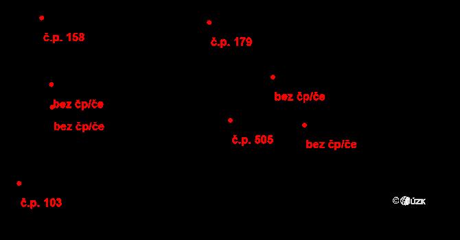 Hrabová 505, Ostrava na parcele st. 2068/2 v KÚ Hrabová, Katastrální mapa