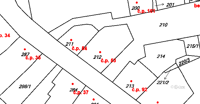 Větrný Jeníkov 53 na parcele st. 212 v KÚ Větrný Jeníkov, Katastrální mapa